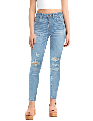 Women's High-Waist Ripped Button-Down Skinny Jeans