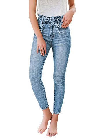 Women's High-Waist Buttoned Distressed Belted Denim Skinny Jeans