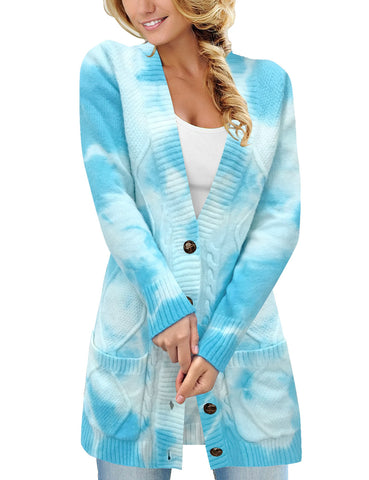 Women's Tie-Dye Button-Up Long Sleeves Cable Knit Sweater Cardigan