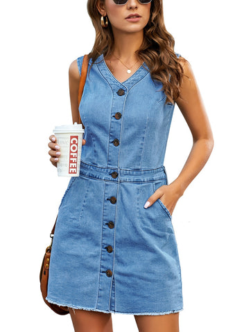 Women's Raw Hem Sleeveless Button-Down Denim Dress