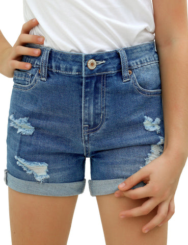 Girls' Casual Button-and-Zipper Folded Hem High Waist Shorts