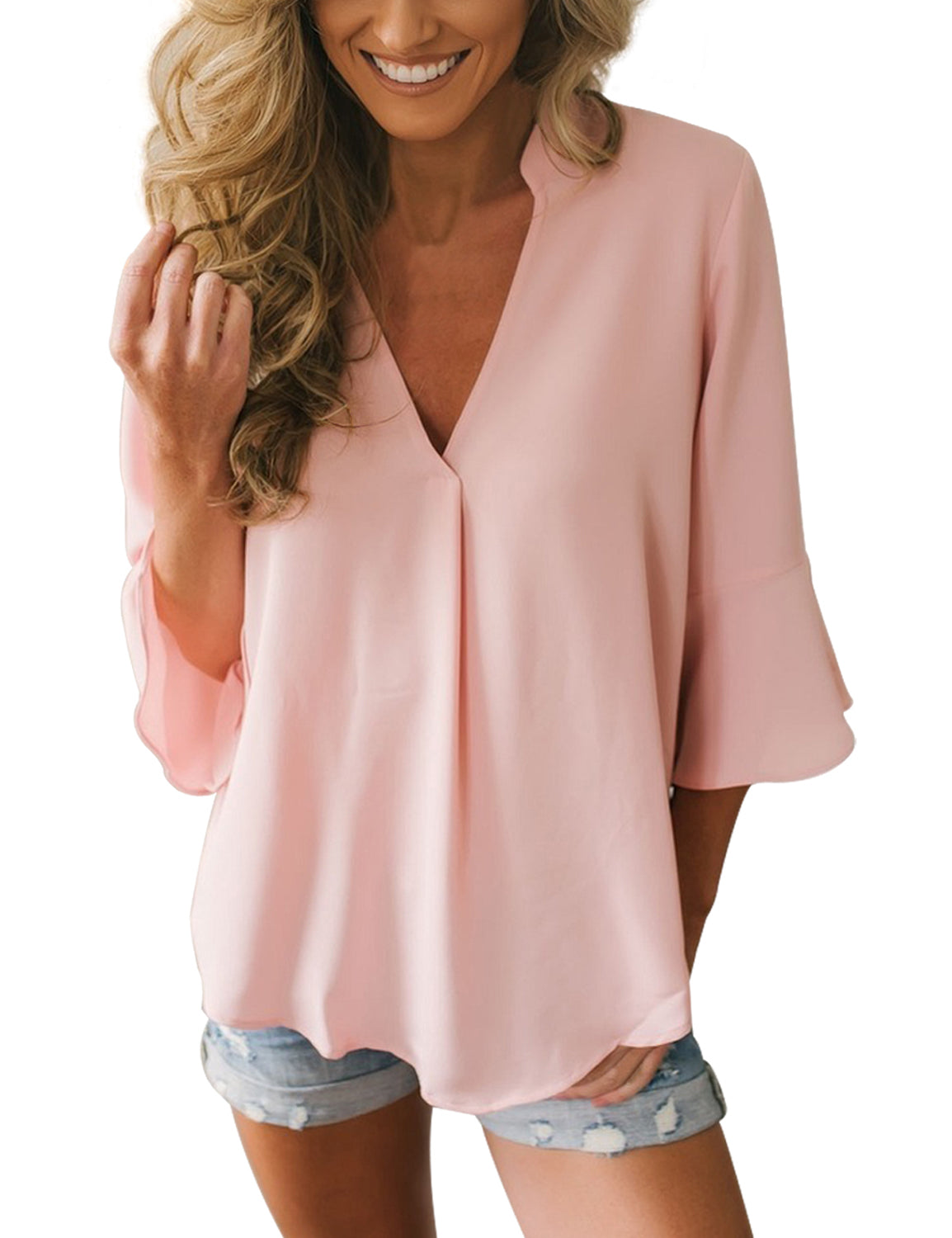 34c9e3596 Casual 34 Bell Sleeve V Neck Loose Chiffon Tops Blouses Shirts