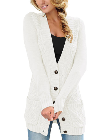 Women's Front Pockets Button-Up Cable Knit Cardigan