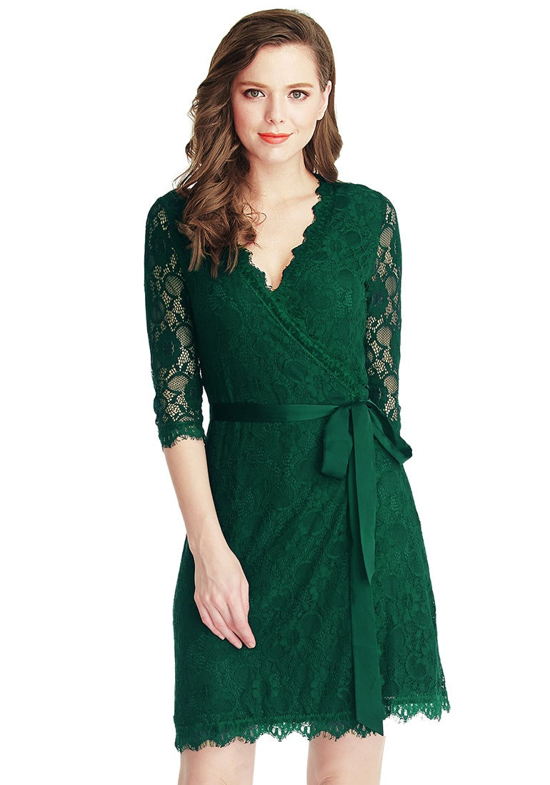 Green Lace Overlay V Neck Belted Wrap Dress