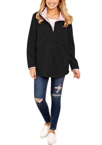 Casual Long Sleeves Stand Collar Buttons Pockets Fleece Pullover