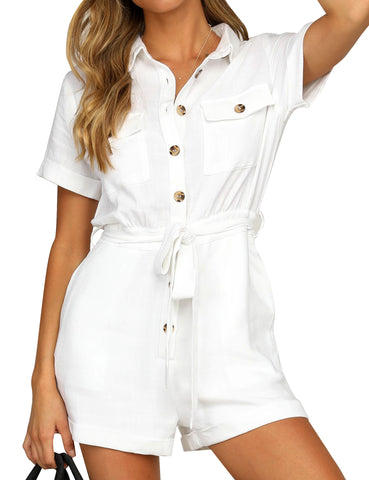 Women's Short Sleeves Button-Down Belted Rompers