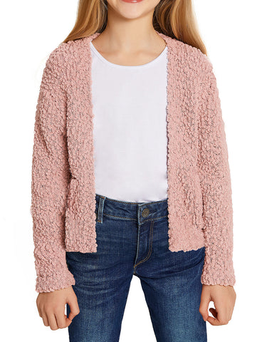 Girls Open Front Long Sleeve Cardigan Pocket Sweater