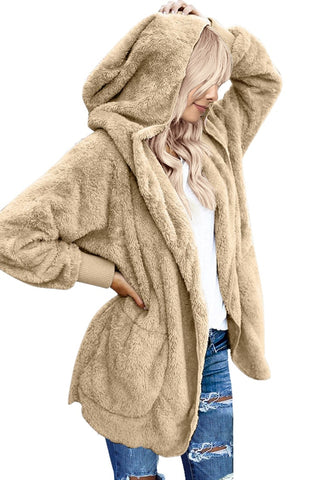 Casual Draped Open Front Coat Oversized Hooded Pockets Cardigan