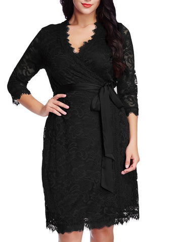 Plus Size Floral Lace 3/4 Sleeves True Wrap Dress