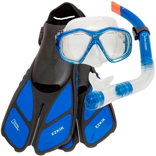 blue mask fins snorkel travel set