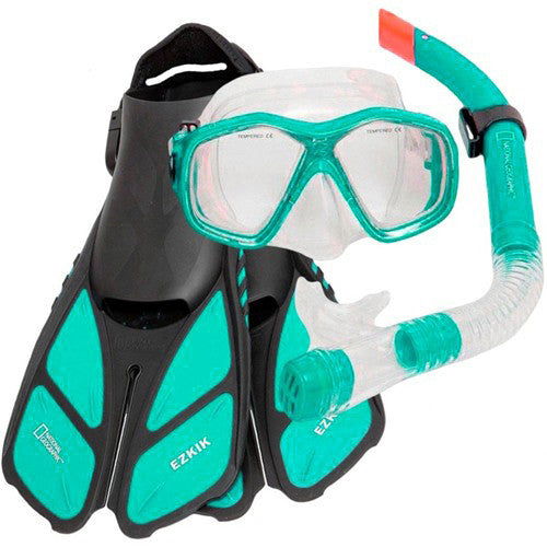 green mask fins snorkel travel set