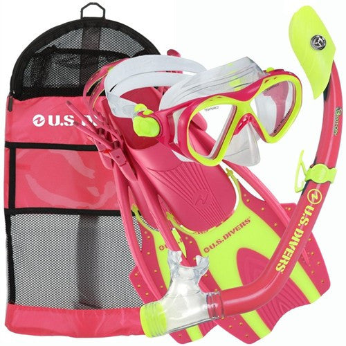 girls mask fins snorkel set, pink