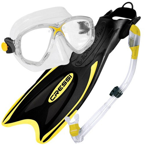 yellow mask snorkel traditional fins set