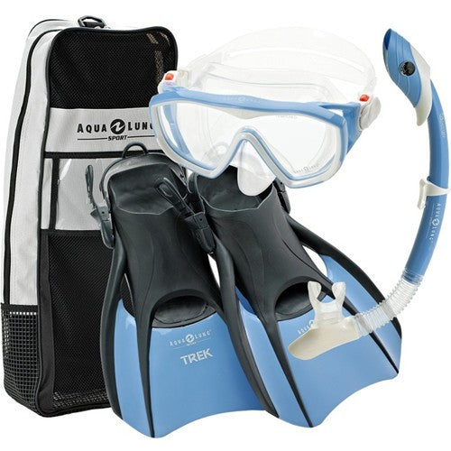 ladies mask fins snorkel set, artic blue