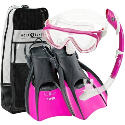 ladies mask fins snorkel set, pink