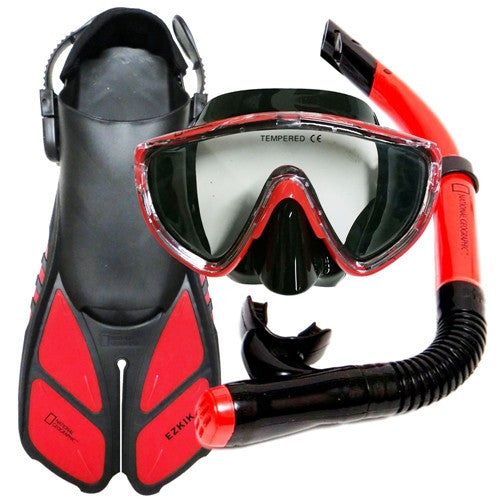 National Geographic Mask, Snorkel, Split Fins & Mesh Bag
