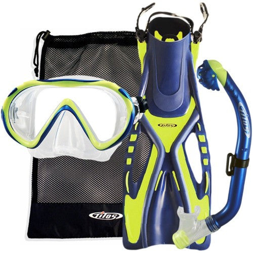 child blue yellow snorkeling set