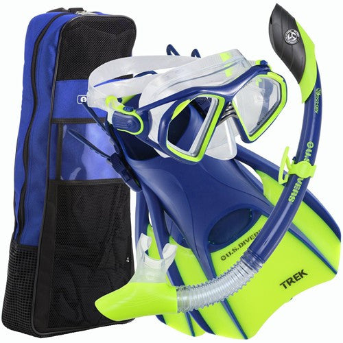 blue neon yellow mask fins snorkel set