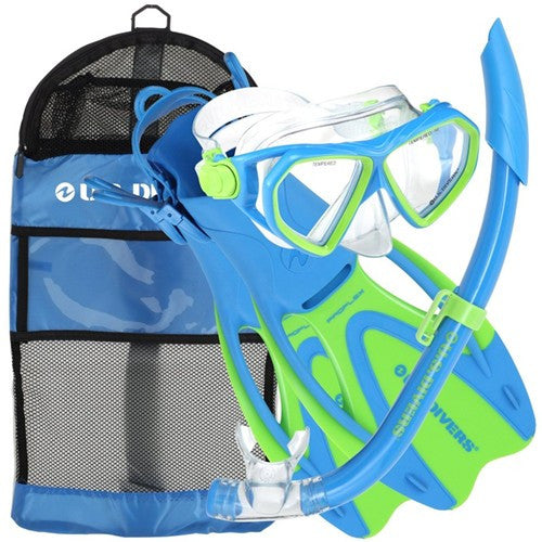 child blue lemon lime snorkeling gear