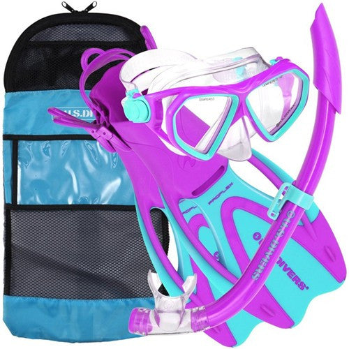 youth purple blue snorkeling gear