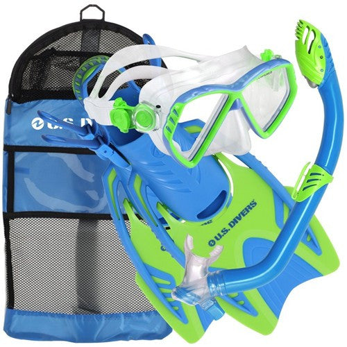 youth blue lime snorkel set
