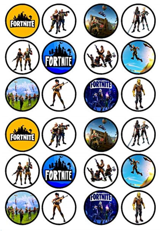 Fortnite Theme Wafer Paper Cupcake Toppers