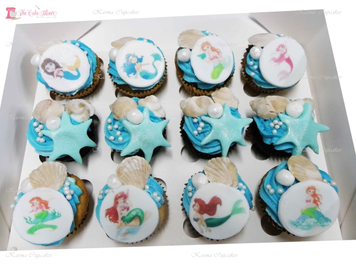 Little Mermaid Theme Cupcakes. Available In 6 Or 12 Packs. Pack Chocolate Toys&parties.co.nz
