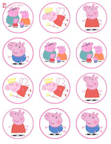 Peppa Pig Wafer Paper Cupcake Toppers