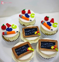 Thank You Teacher Theme Cupcakes. Available In 6 Or 12 Packs. Pack Chocolate Toys&parties.co.nz
