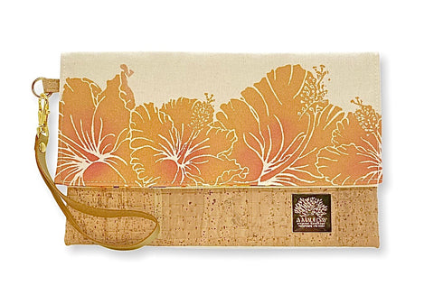 NEW Hibiscus Handprinted Foldover Clutch