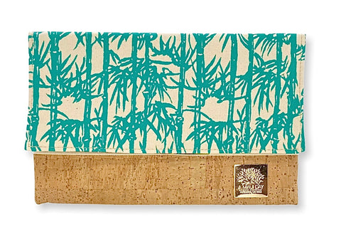 NEW Bamboo Handprinted Foldover Clutch