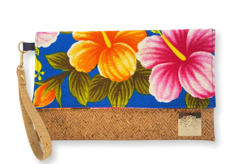 NEW Vintage Blue Hibiscus Foldover Clutch