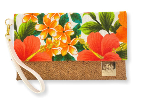 NEW Vintage Hibiscus Foldover Clutch