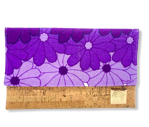 NEW Vintage Purple Lei Foldover Clutch