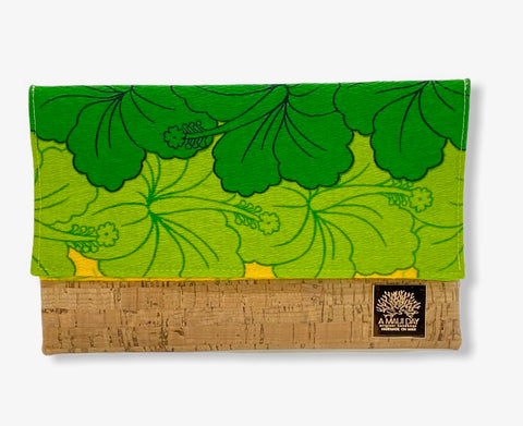 NEW Vintage Green Hibiscus Lei Foldover Clutch