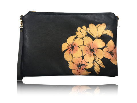 Plumeria - Large Leather with Aloha Handbag
