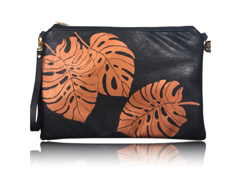 Monstera - Large Leather with Aloha Handbag