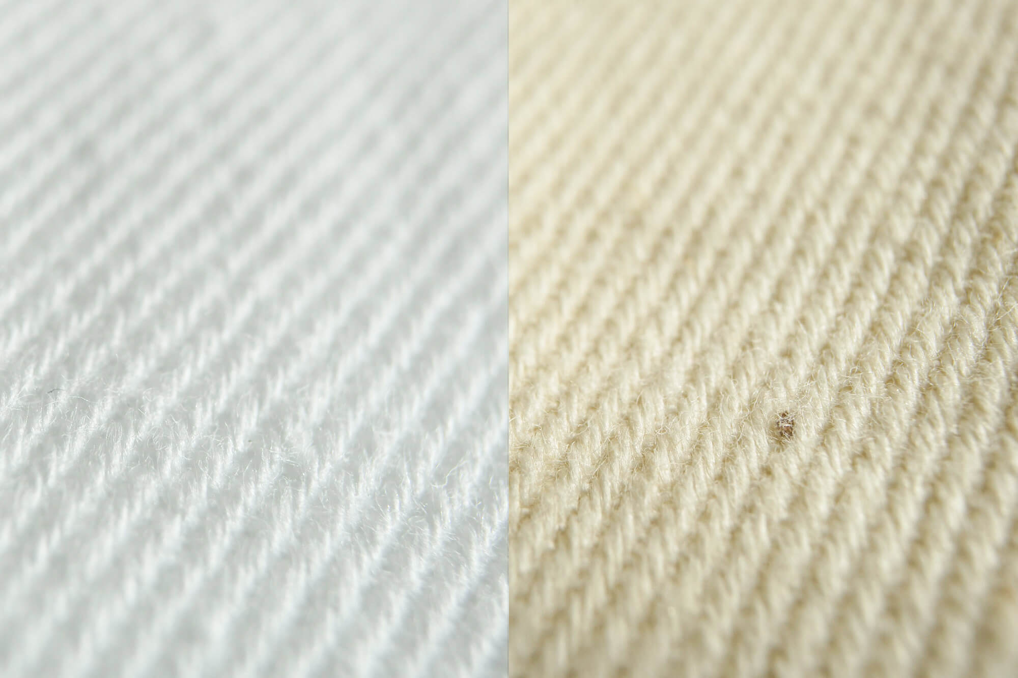 Bleached and unbleached fabric Comparaison