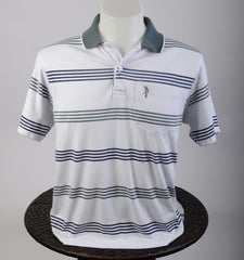White w/Teal Stripes Cotton Golf Shirt