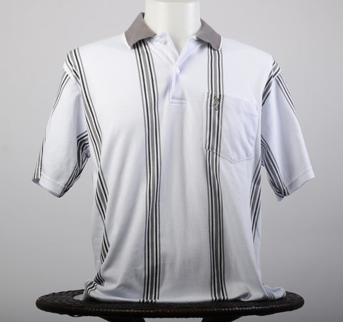 White w/Gray striped cotton golf shirt
