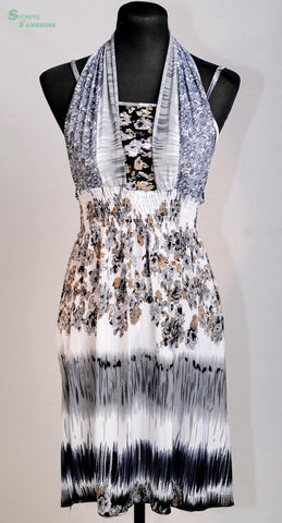 Beachfront evening dress, white and grey
