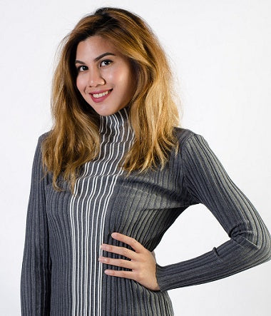 Half turtleneck Sweater, Long Sleeve, Gray/white