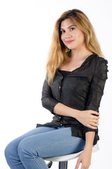 Ladies Business top, button down black, lace