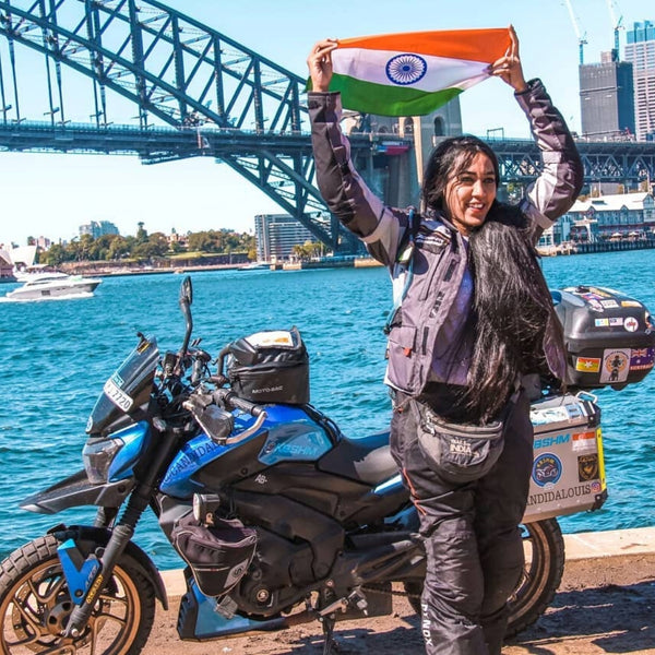 Candida Louis Bikergirl Female Biker World Traveler Australia Tour Solo travel on bike Women's Day