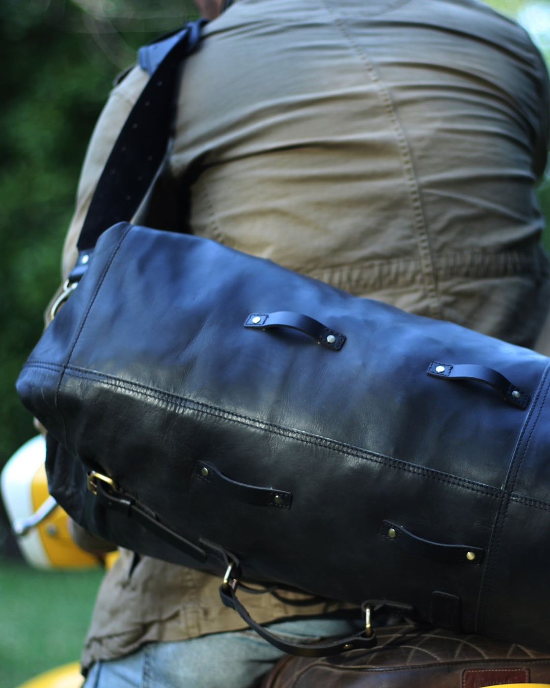 Leather Military Duffel - Classic Black