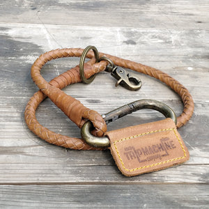 Braided Key Chain Vintage Tan