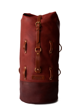 Leather Military Duffel - Cherry Red