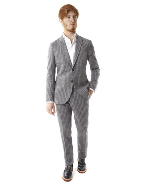 Pinstriped gray wool suit made in italy: Ofanto Italy