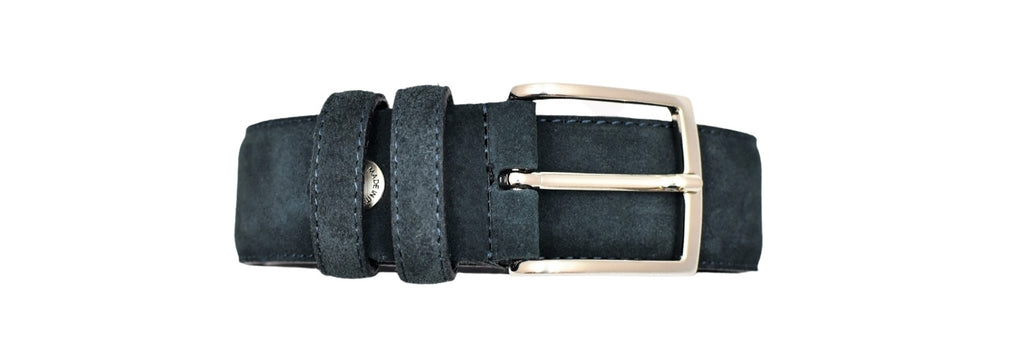 Leather Belt - Navy Suede