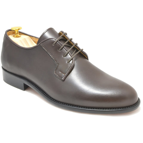 3f77a28b26980 Italy Derby Shoes in brown calfskin with a black buff sole